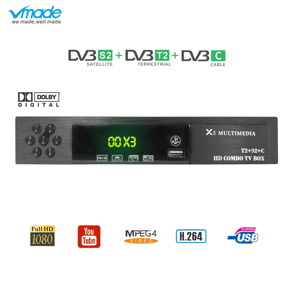 HD DVB-S2 Digital FTA Satellite Receiver IPTV Youtube Wifi Decoder Tuner Tv Box