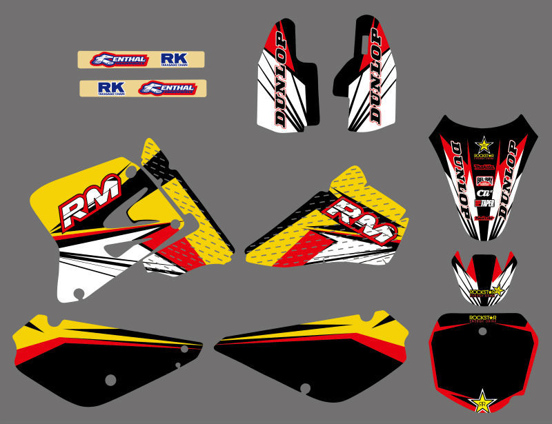 GRAPHICS BACKGROUNDS DECALS STICKERS Kits Fit for Suzuki RM85 RM 85 2002 2003 2004 2005 2006