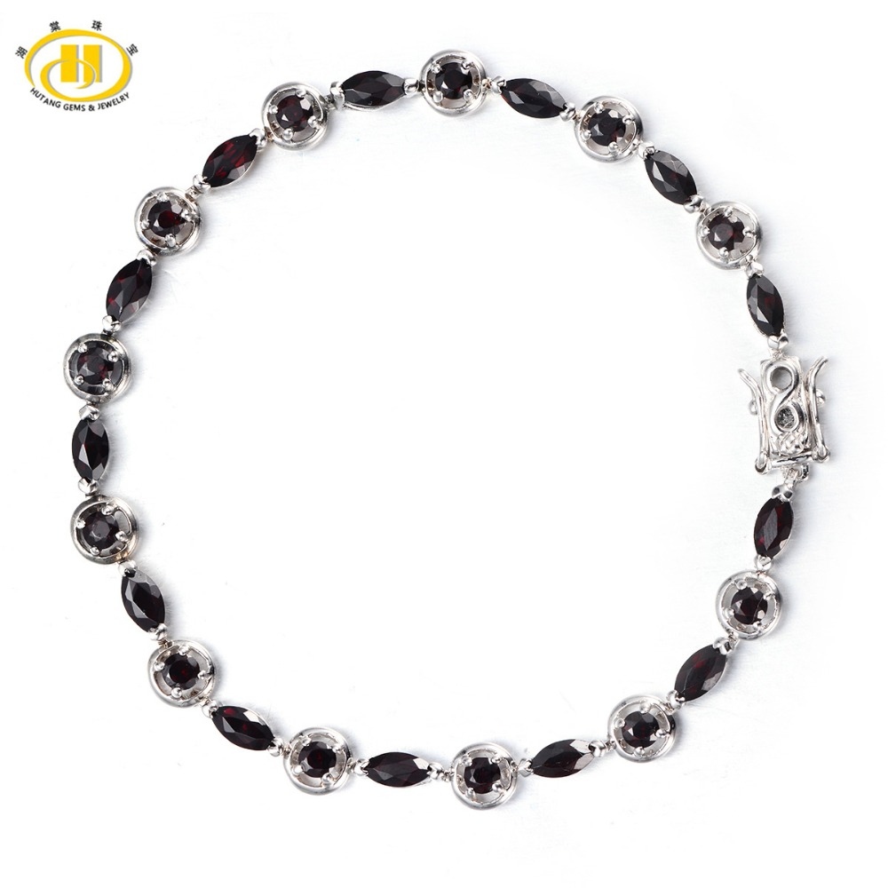 Hutang Trendy 6.08Ct Natural Black Garnet Bracelet Solid 925 Sterling Silver Women's Real Gemstone Fine Jewelry Bangle For Girl ztung lvs1 for us trendy teardrop real zircon bracelet bangle solid 925 sterling silver gemstone fine jewelry bangle best gift