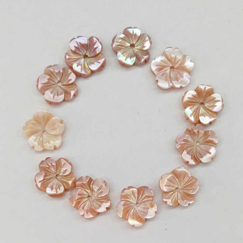 Moda naturais shell rosa Muito bonita 10mm pétalas de Flores charme fazer jóias Cabelo Brincos acessórios 12 pçs/lote atacado