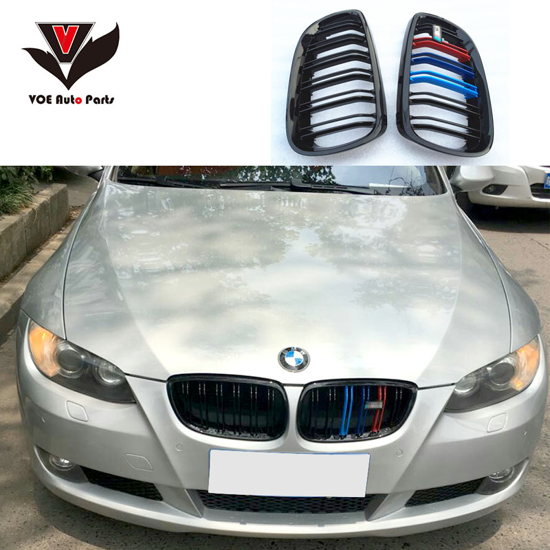 E92 E93 Pre-LCI M3 Style ABS Plastic Gloss 3-Color Front Racing Grill Grille for BMW 3-series 2006-2009 E92 E93 2-Door Coupe 3 series carbon front bumper racing grill grills for bmw f30 f31 standard sport 12 16 320i 325i 330i 340i non m3 style car cover