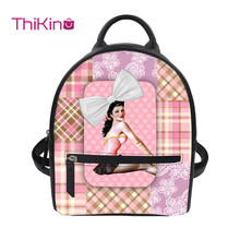 Thikin 2019 New 3D Printing Ballet Backpack for Women Girls PU Mini Cute Leather Schoolbag Student Preppy Style Bag