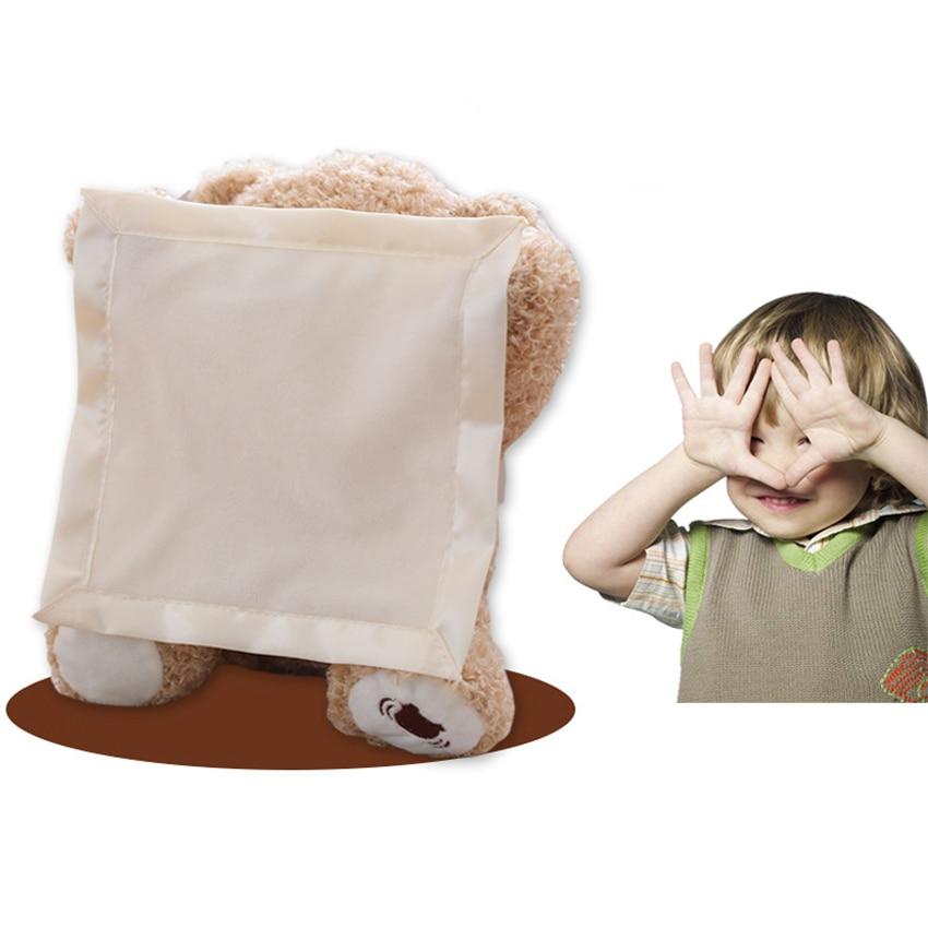 Cute Peek a Boo Teddy Bear Play Hide And Seek Lovely Cartoon Stuffed Animal Bear Kids Birthday Gift Music Bear Plush Toy Doll big cute simulation polar bear toy handicraft lovely white polar bear doll gift about 31x18cm