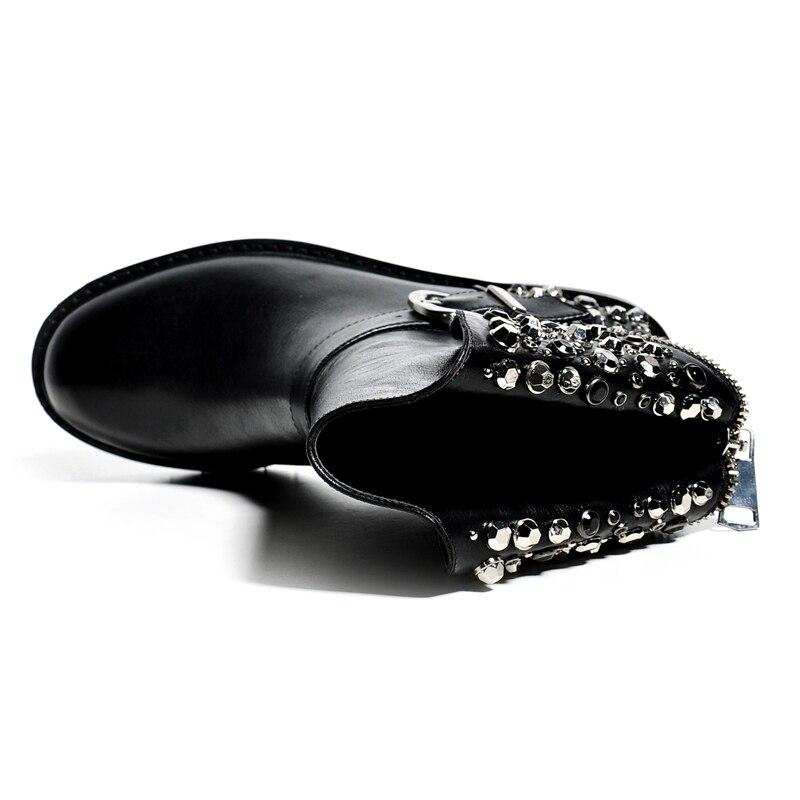 패션 정품 가죽 리벳 크리스탈 진주 구슬 라운드 발가락 따뜻한 겨울 부츠 두꺼운 뒤꿈치 유럽 럭셔리 가벼운 송아지 부츠 l00-에서미드 카프 부츠부터 신발 의  그룹 3