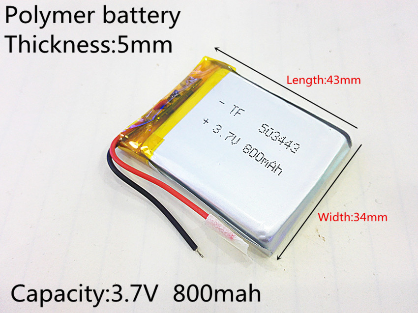 503443 Rechargeable Lithium Polymer 3.7V 800mAh Li-ion Battery For bluetooth headset Speaker GPS PSP PDA MP3 MP4 MP5 053443 xhr 2p 2 54 800mah 802035 point reading pen bluetooth speaker school paper 3 7v polymer battery 702035