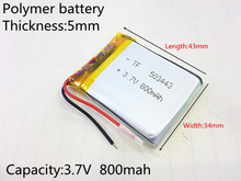 503443 Rechargeable Lithium Polymer 3 7V 800mAh Li ion Battery For bluetooth headset Speaker GPS PSP