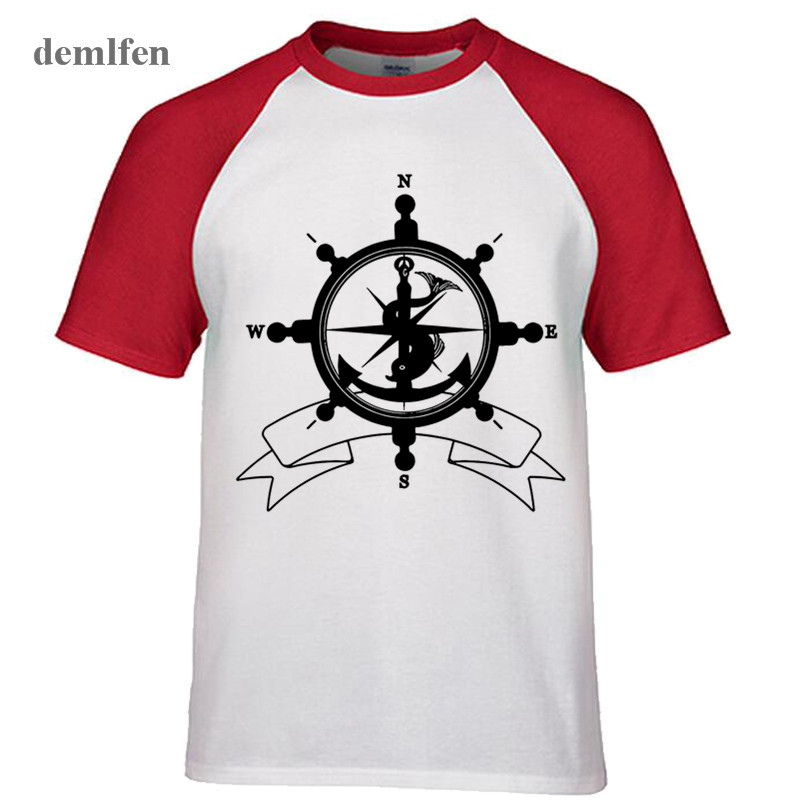 Summer Fashion Sea Helm Symbol Anchor Compass Travel Pirates T Shirt