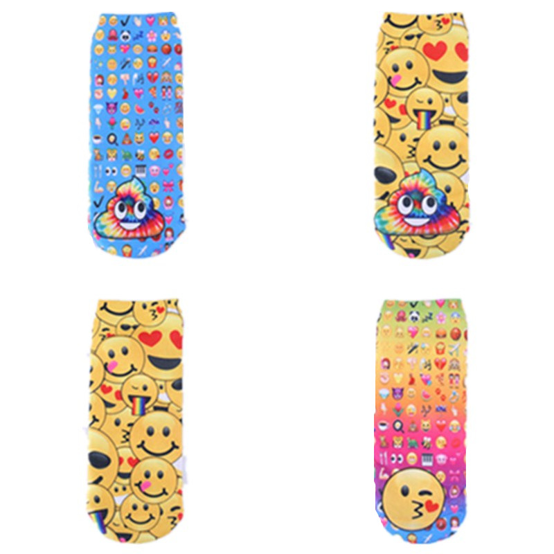 Unisex 3D Printing Emoji Expression Socks Women Funny Cute Smile Face Sox Low Ankle Short stock