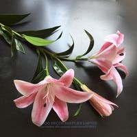 높은 품질의 실크 + 라텍스 코팅 실제 터치 핑크 3D 백합 홈 인공 큰 꽃 백합 꽃 웨딩 파티 무료 배송