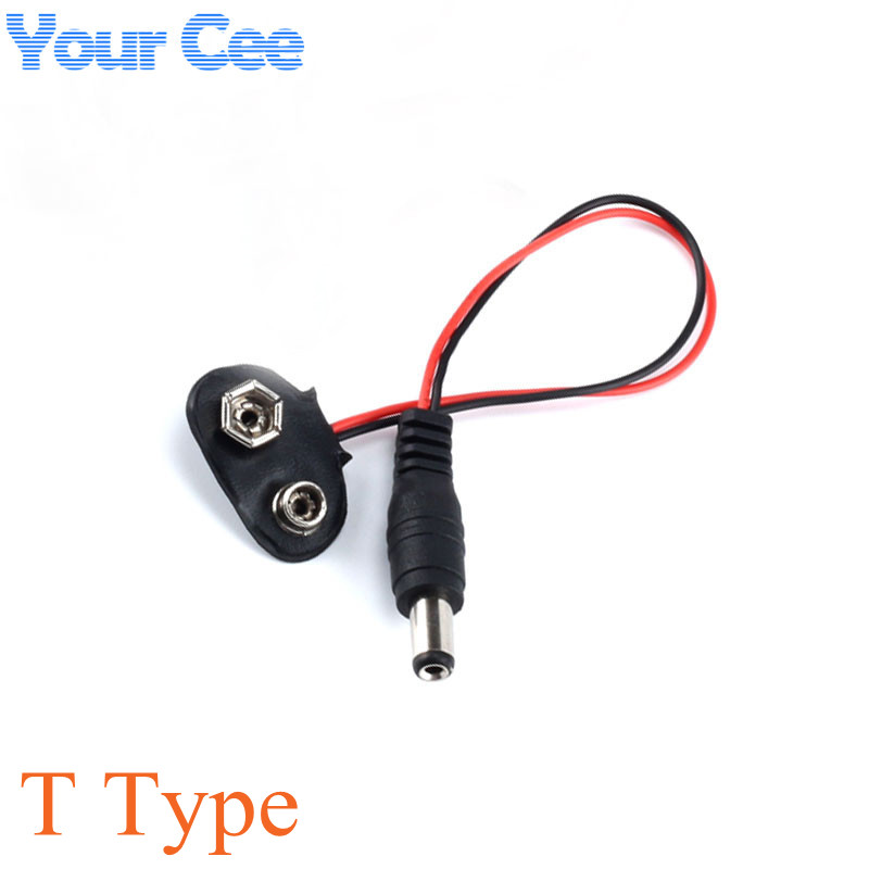 100 pc Experimental 9V DC Battery Power Cable Plug Clip Barrel Jack Connector for Arduino DIY T type