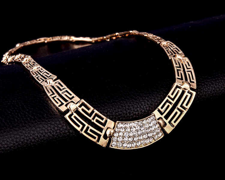 De Oro de moda de cristal de Color declaración de las mujeres conjunto de joyas de moda geométrica hueco pulsera de collar de África, Medio Oriente, de F