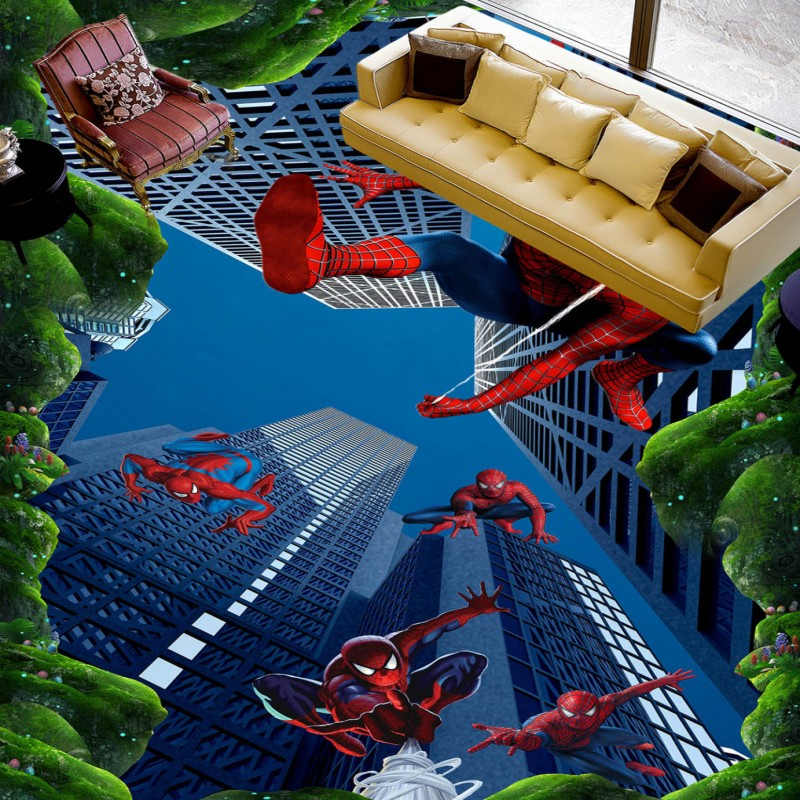 ФОТО Free shipping draw film characters custom flooring moisture proof non-slip living room corridor balcony 3d wallpaper mural