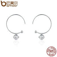 BAMOER Genuine 925 Sterling Silver Romantic Bud Love Imitation Pearl Drop Earrings For Women Sterling Silver