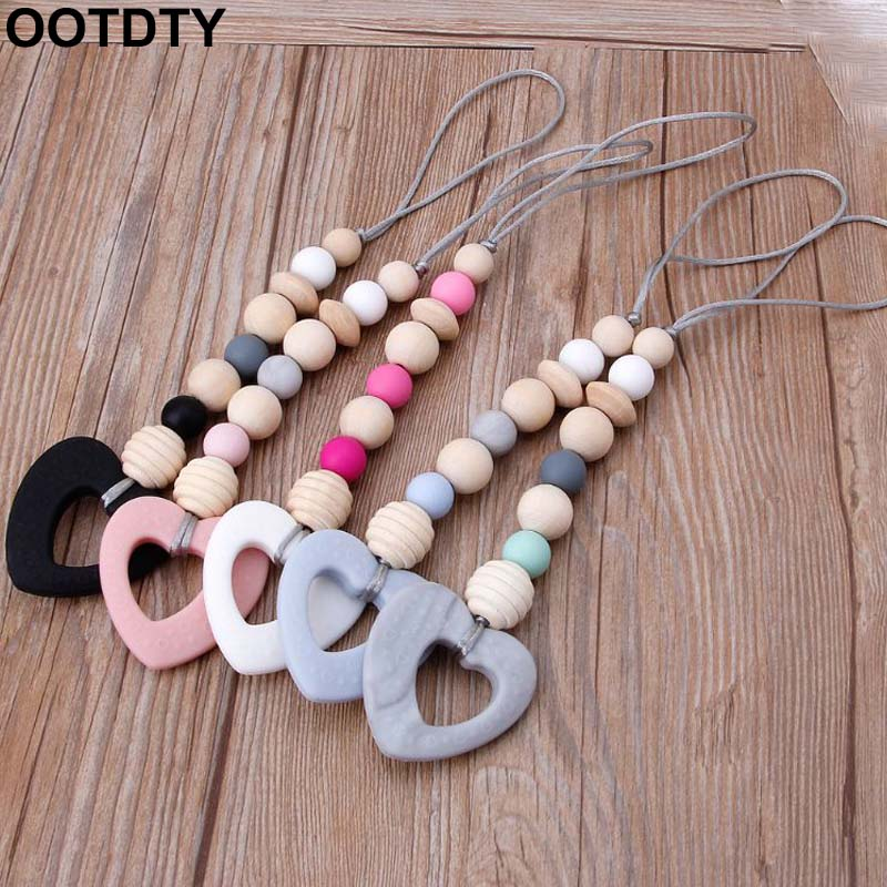 Baby Teether Play Gym Toy Safe Silicone & Wood Babe Hanger Toys Toddler Teething Rattle Nursery Toy Newborn Gift