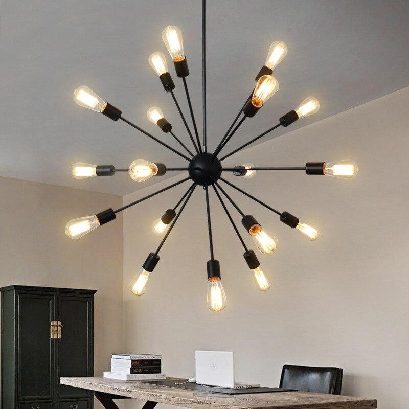 Industrial Pendant Light Satellite Wrought Iron lights Edison Bulb Hanging Lamp Black Retro Droplight For Bar Restaurant Loft