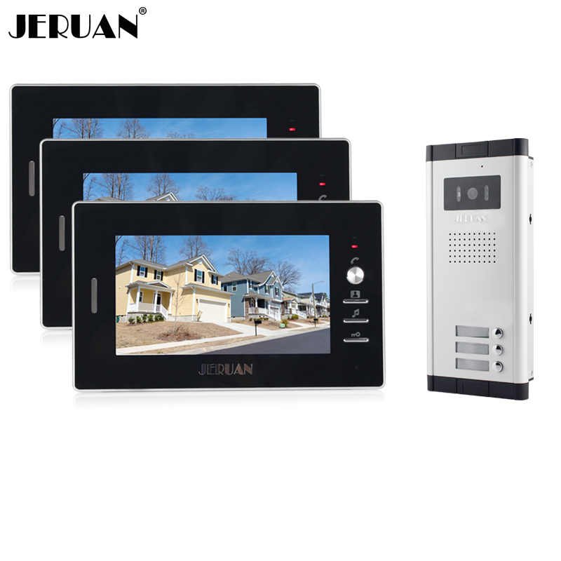 JERUAN New Apartment Intercom System 7 inch Color Video Door Phone intercom System video intercom For 3 monitors Free shipping