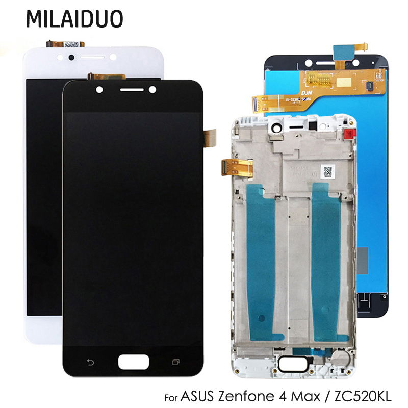 LCD Display For Asus Zenfone 4 Max ZC520KL Touch Screen Digitizer Assembly Replacement Black White With Frame 5.2''