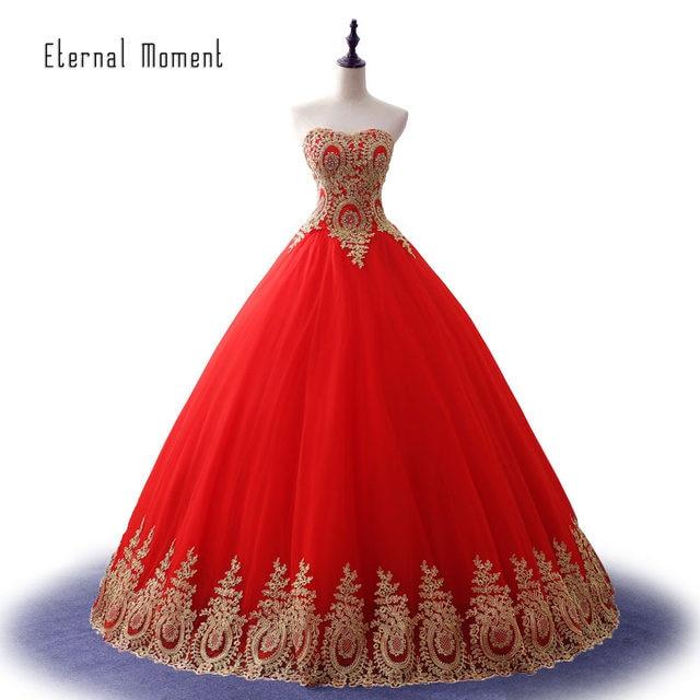 Online Shop Vintage plus size Gold Red Sweetheart vestidos de novia ...