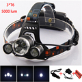 3 Cree T6 Led Head Lamp Torch Light Rechargeable Frontal Headlamp Lampe Frontale With Car Charger 18650 Batteries For Fishing