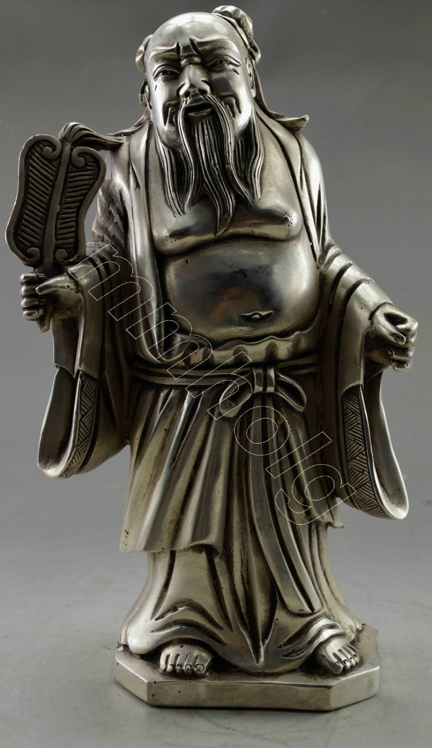 Decorated Old Tibet Silver Carved Zhongli Quan God Hold Fan Statue