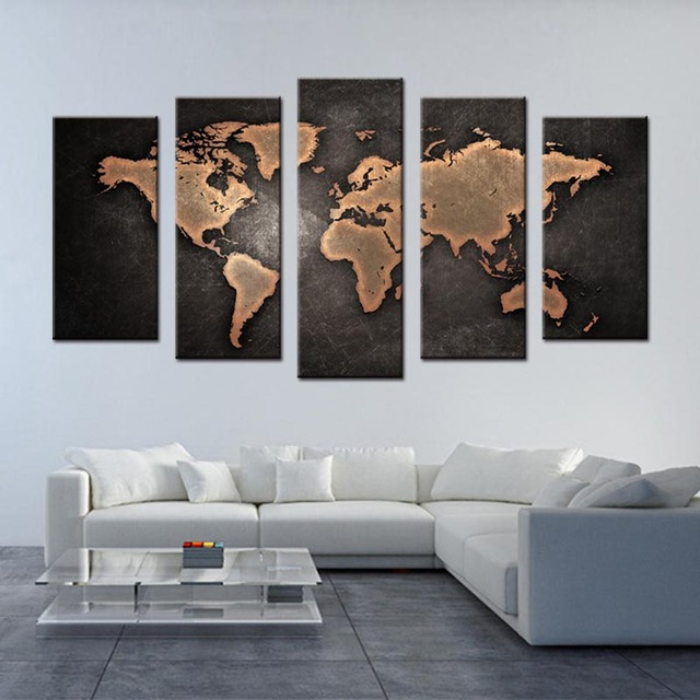 5 Pcs/Set Framed Abstract Black World Map Wall Art Modern Global World Map  Canvas