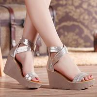 D Henlu Gold Ladies Sandals With Heels Platform Sandals Women Shoes Summer High Heels Shoes Leather