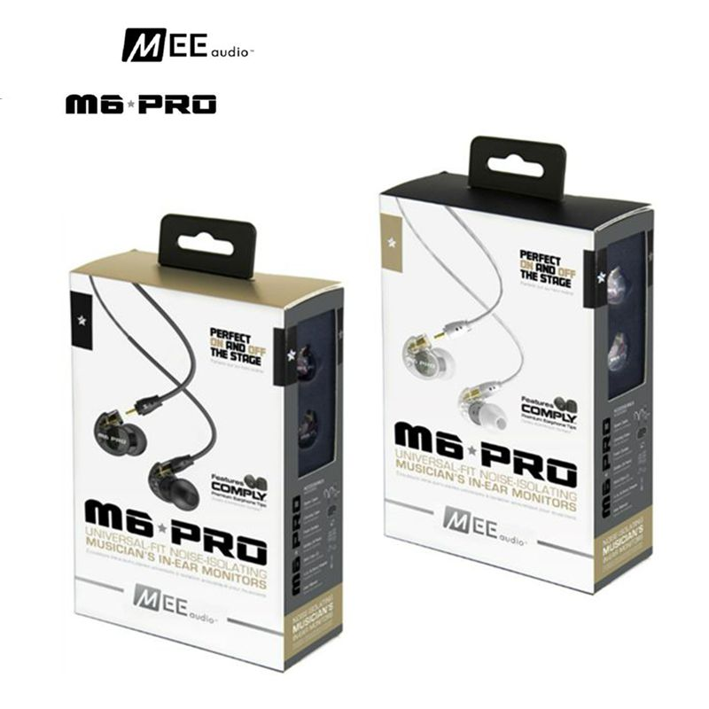 DHL free MEE Audio M6 PRO Monitors Bass HIfi Earphone Noise-Isolating DJ Monitors Earphone with Detachable Cables VS SE535 K3003 mee audio m6 pro monitors bass hifi earphone noise isolating dj earphone in ear headset m6 black or white optional with box