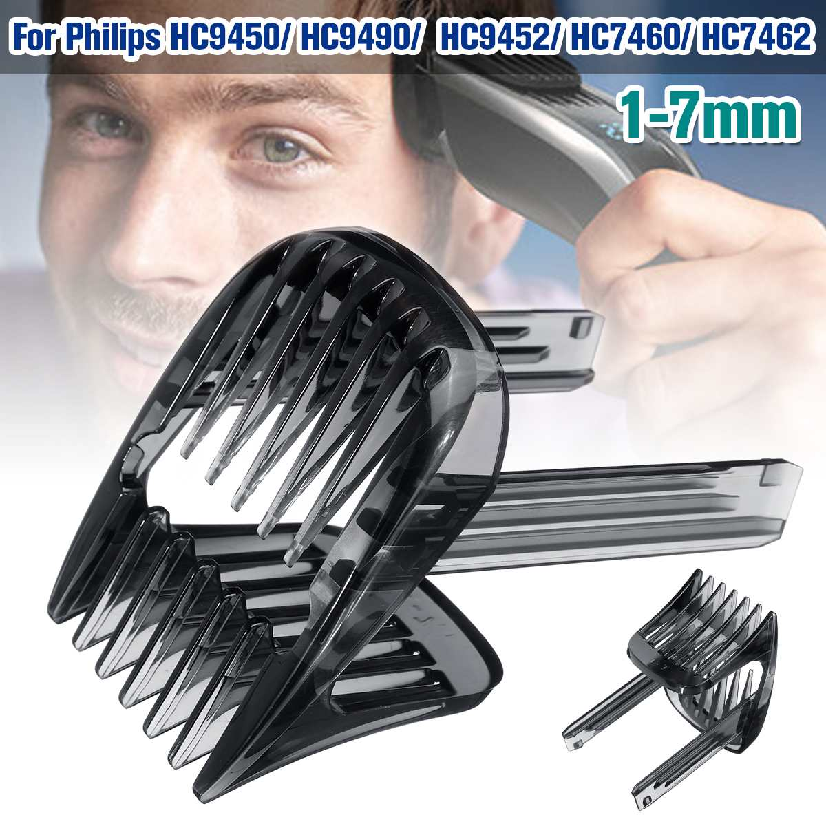 1pcs Hair Clipper Comb For Philips HC9450 HC9490 HC9452 HC7460 HC7462 Hair Trimmer 1-7mm Replacement Comb