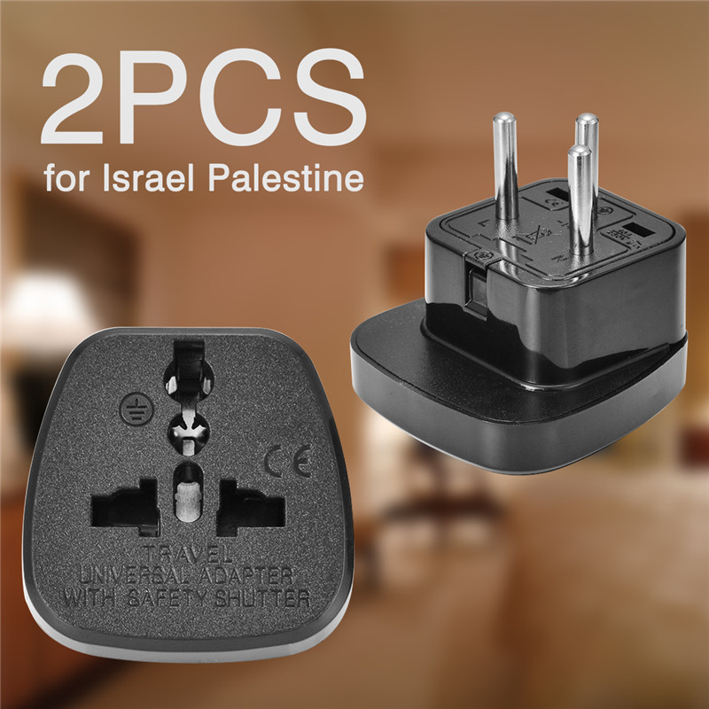 For ISRAEL Palestine 2pcs Travel Plug Adapter Universal Outlet 3 Pin Grounded Plug Adaptor 10A 250V Mayitr
