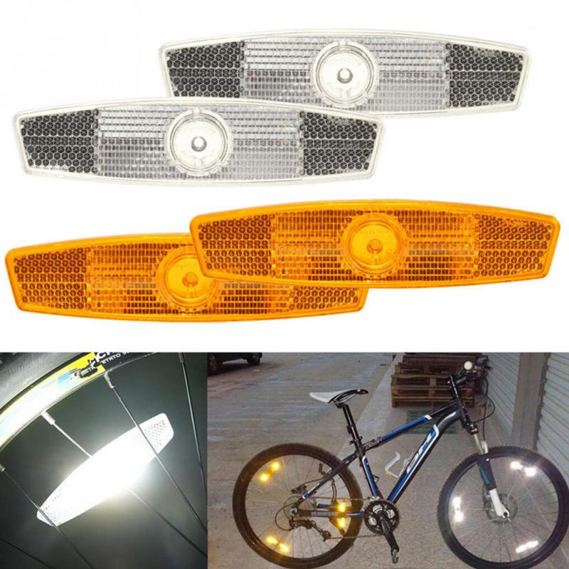1Pair Hot Sale Bicycle Spoke Reflective Sheet Bike Wheel Lamp Safety Spoke Reflector Reflective Mount Clip Warning Lights