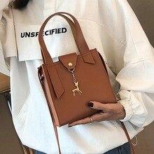 Women Small Square Bag PU Leather Deer Decor Handbag Crossbody Messenger Bags New LBY2018 deer detail pu bag