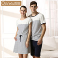 Tmall manufacturers selling shallow couples take cotton short sleeve household to take Knitted cotton nightgown female striped
