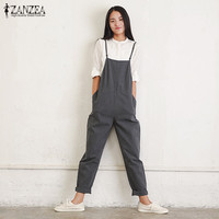 Rompers Womens Jumpsuits 2017 ZANZEA Summer Casual Loose Vintage Sleeveless Strapless Playsuits Bodysuits Overalls Black Gray