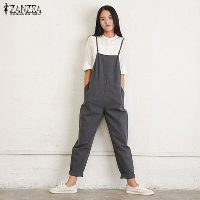 f6a6141fd55 Rompers Womens Jumpsuits 2018 ZANZEA Summer Casual Loose Vintage Sleeveless  Strapless Playsuits Bodysuits Overalls Black Gray