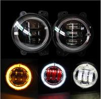 1pair 4Inch 30W LED Fog Lights White Daytime Running Light With Yellow Halo Ring For Jeep