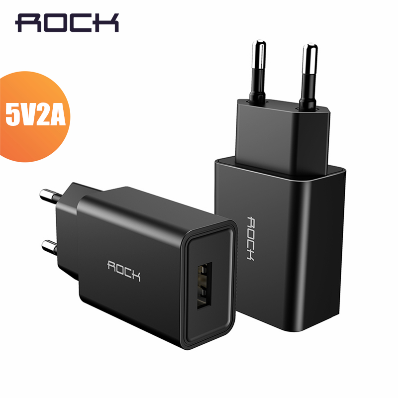 Rock Universal USB Charger 5V2A EU Plug Travel Charger Wall Adapter Smart Charger for iPhone Samsung Xiaomi Tablet and More