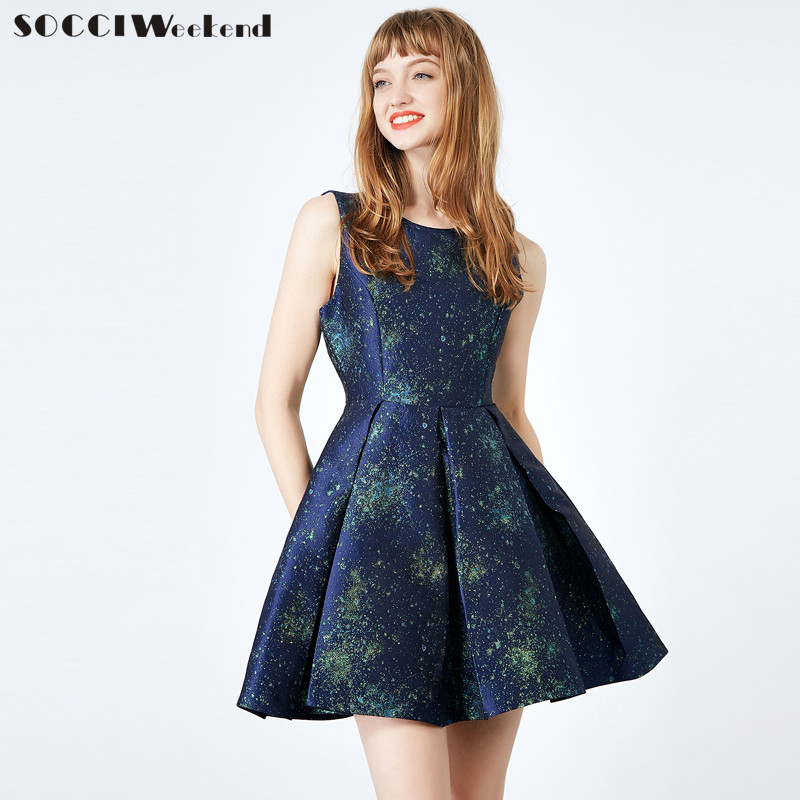 SOCCI Weekend Mini Homecoming Dresses A-Line Girls Formal Dress Sleeveless Blue  Special Occasion Prom 52e3701d4259