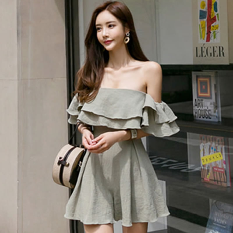 2018 Summer Strapless Princess Sexy Women Cloth Solid Ruffles Casual Pleated Mini Short Jumpsuit