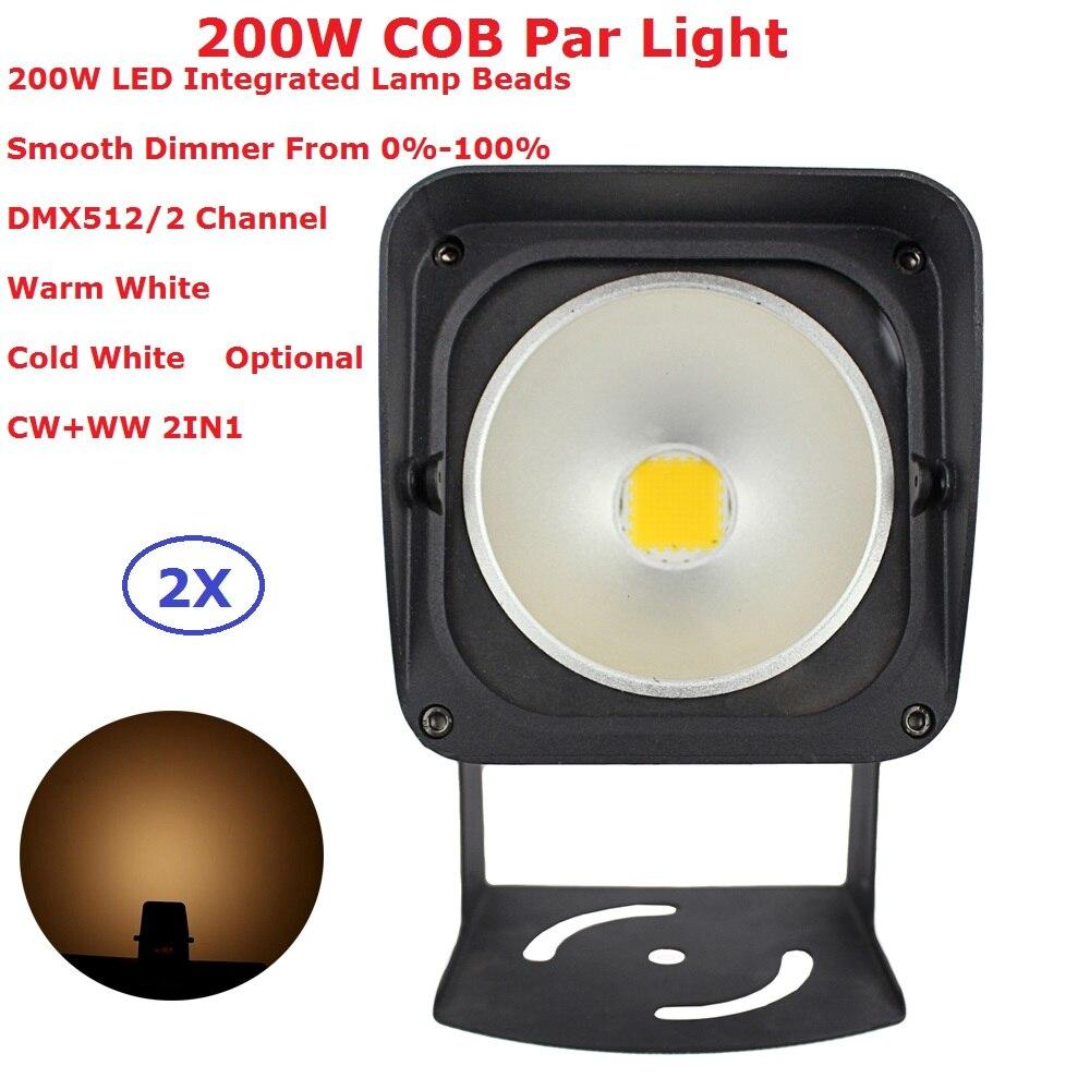 2Pack LED Par Light COB 200W High Power Aluminium DJ DMX Led Stage Strobe Effect Lighting,Cool White Or Warm White Or CW+WW 2IN1