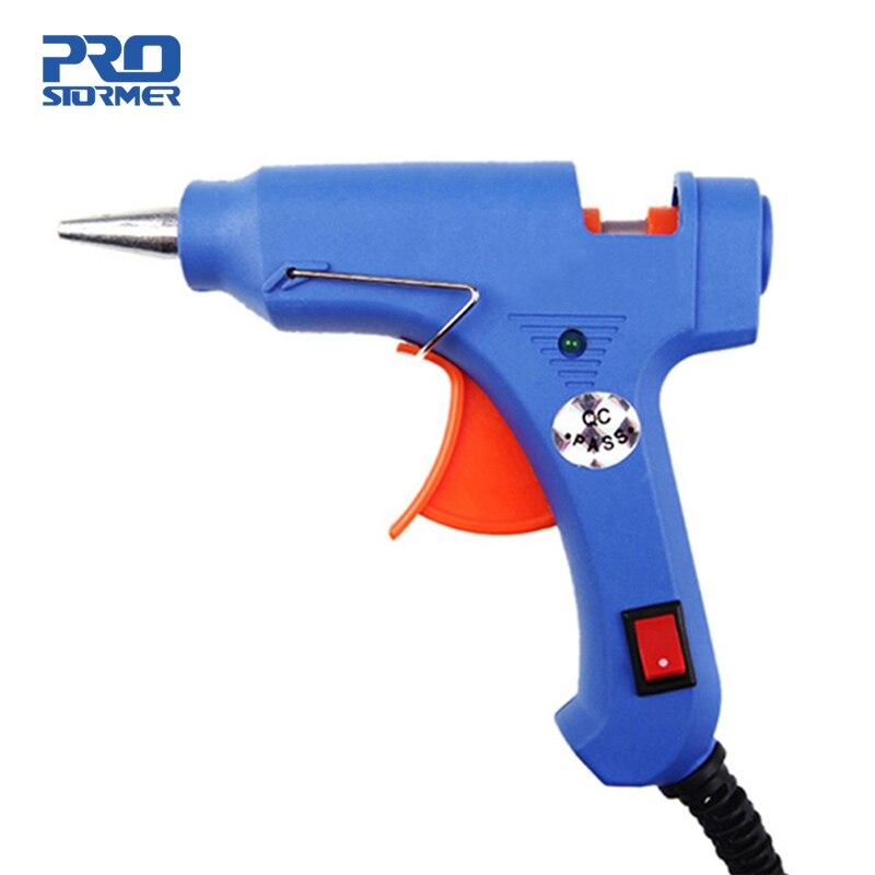 Prostormer высокотемпературный нагреватель расплавленный горячий клеевой пистолет 20 Вт инструмент для ремонта теплового пистолета синий мини-пистолет EU штекер использование 7 мм термоклеевые палочки