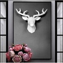 3D Смола голова оленя скульптура фрески для дома настенный Лось статуя ручной работы орнамент работа ремесло маленький размер голова оленя скульптура