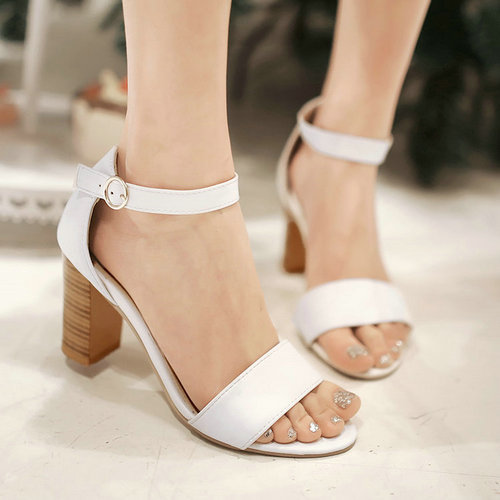 7d58edabb1b US $49.0   Wood Heel High Heel Sandal Shoes Chunky Heel Platform Sandals  Open toe Buckle Strap Sandal Shoes Woman-in Women's Sandals from Shoes on  ...