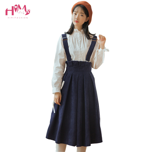 07ba6c2082 Women's Solid Corduroy Suspender Skirt High Waist Pleated A-Line Flare  Straps Skirt Midi Bib Overall Vintage Skirt With Pocket