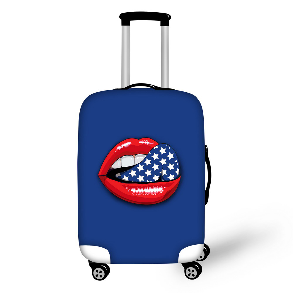 Brand Sexy Lips 3D Polyester Luggage Cover Stretch Fabric Dust-Proof Luggage Suitcase Protector Cover Size S/M/L