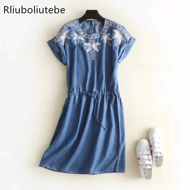 summer soft denim dress dropped shoulder knee-length tied waist embroidery pleated Jeans dresses short sleeves casual blue