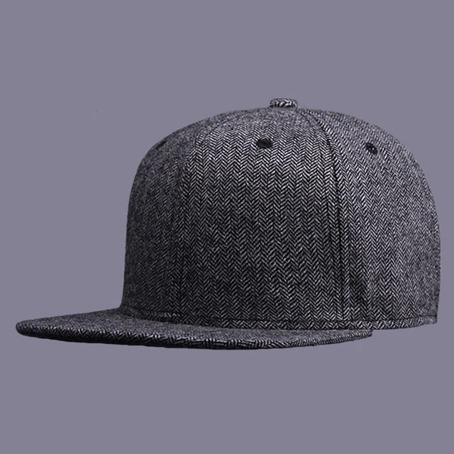 2016 High Quality Cap Brim Straight Baseball Caps Snapback Winter Woolen Solid Felt Hats for Men Women