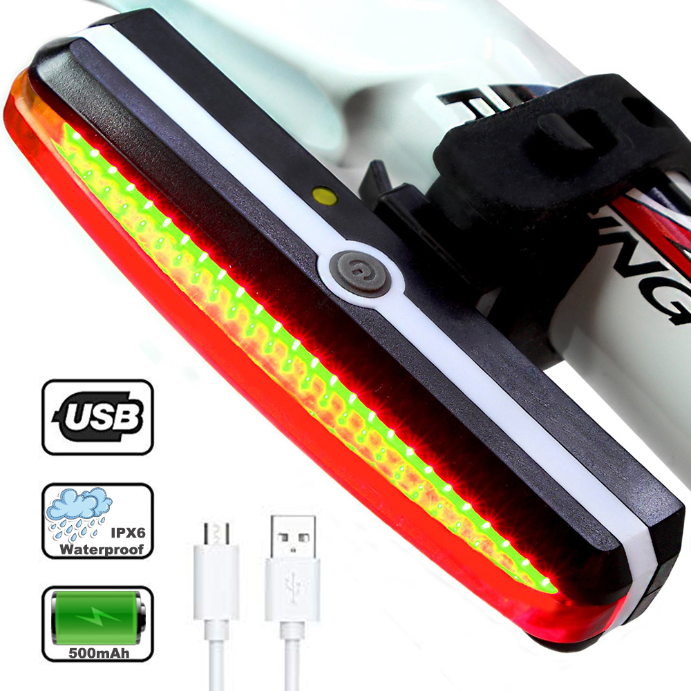 2019 USB COB Taillight Bicycle Light IPX6 Riding Rear Lighting Safety Cycling LED For MTB Road Bike Riding Accessory Front Lamp