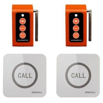 Singcall bezprzewodowy wywołanie systemu caregiver 2 dotykalne pielęgniarka dzwoniąc przyciski i 2 pagery, przycisk wzywania pomocy dla osób starszych
