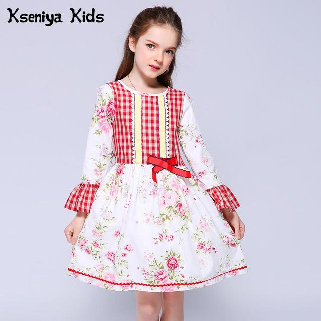 Kseniya Kids Baby Girls Long Sleeve Dresses For Girls Puff Sleeve Princess Lace Dress Kids Clothes Flower Dresses Girl Dress