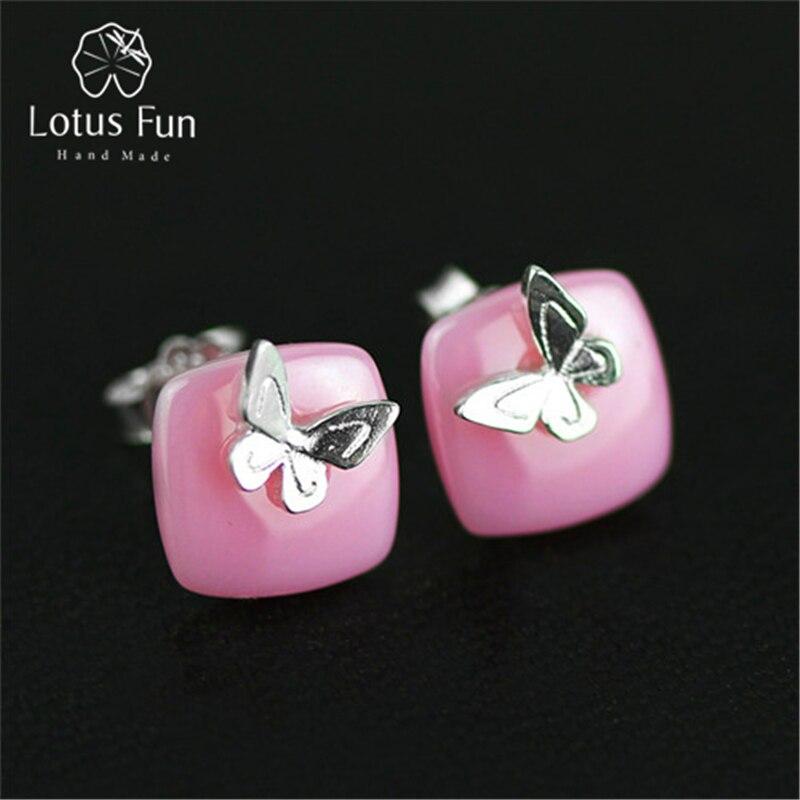 Lotus весело Настоящее стерлингового серебра 925 природных керамика творческий ручной работы Ювелирные украшения Прекрасная бабочка Серьги-гвоздики для Для женщин